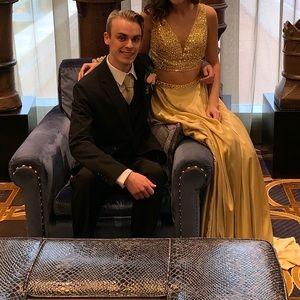 Sherri Hill Dresses - Gold two piece Sheri Hill prom dress